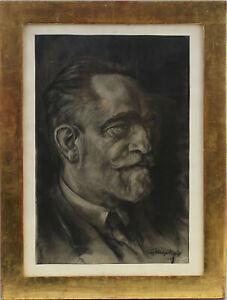 8763025 Kohlezeichnung Porträt eines Herren 1928 signiert
