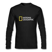New National Geographic Logo Long Sleeve Black T-Shirt Size XS-2XL