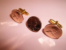 USA WHEAT PENNY COIN CUFFLINKS & TIE / LAPEL PIN SET 1940 -1958 PICK YOUR YEAR.