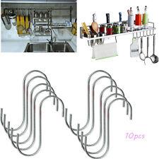 10 pack Stainless Steel S Hooks Hanging Rail Pot Pan Hanger Kitchen DIY Room Hot