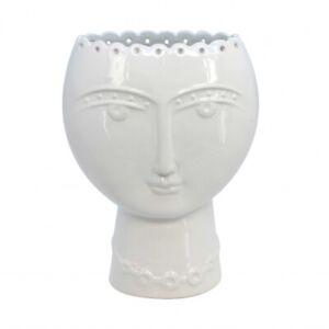 Small White Ceramic Lady Head Face Design Planter Vase Gisela Graham Donna