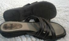 Womens Brown Leather Sandals PREDICTIONS COMFORT PLUS Slip on wedge 7.5