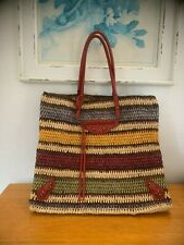 BALENCIAGA Yellow Dark Navy Multi Straw & Leather Tote Bag