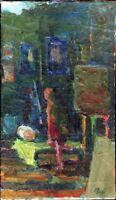 """Russischer Realist Impressionist Öl Leinwand """"Künstlerin"""" 61 x 35 cm"""