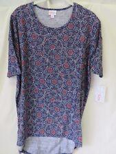 Lularoe Irma Shirt High Low Tunic Blue Coral White Geometric Print Size S #5965