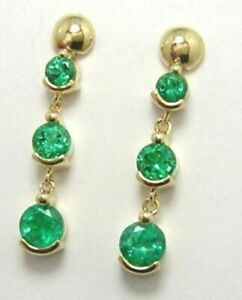 3.00 Ct Round Cut Emerald Dangle Earrings 14K Yellow Gold Over For Women's Gift