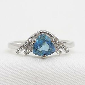 1.00ctw Swiss Topaz & Diamond Cut White Sapphire 925 Sterling Silver Ring Size 7
