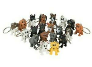 6 Puppy Animal Keychains Fun Party Favor Toys Birthday Teachers Gifts Prizes