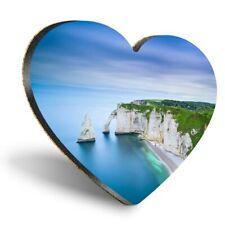 Heart MDF Coasters - Étretat Normandy Cliff France  #12396