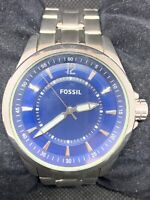 Fossil AM4412 Men's Watch Stainless Steel Silver Analog Quartz Blue Dial O708