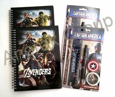 Party Stationery Marvel Bundle; 4 Avengers A5 Book +2 Captain America Pen Pencil