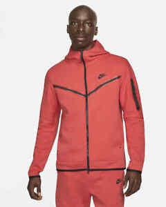 Nike Sportswear Tech Fleece Hoodie Red Black Men's Size Large CU4489-606 NWT New
