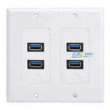 Home 4Ports USB 3.0 Wall Plate Cable Outlet Panel Face Plate Power Dock Station
