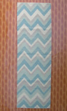 Sky Blue Color 2.6'x8' Rug Zig-Zag Wool Hand Woven Kilim Floor Mat Bedroom Porch