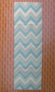 Sky Blue Color Rug Zig-Zag Wool Hand Woven Kilim Floor Mat Bedroom Porch 2.6'x8'