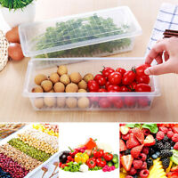 LD_ AM_ Kitchen Rectangle Refrigerator Drain Fruit Food Seal Storage Fresh Box