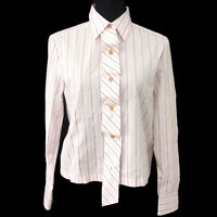 Authentic CHANEL Vintage CC Logos Stripe Long Sleeve Shirts Pink #38 T04420