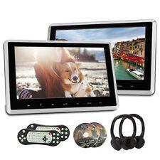 """2xCuffia+2x10.1"""" TFT HD Auto Poggiatesta DVD Ultra-thin Lettore Monitor USB HDMI"""