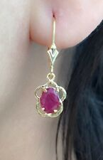 14k Solid Yellow Gold Leverback One Stone Dangle Earrings, Natural Ruby 1.8CTW