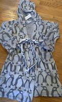 😍 Vera Bradley Sheared Fleece Robe Gray Playful Penguins Small Medium Gift NWT