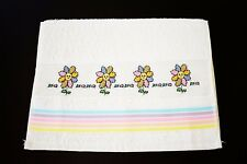 "CROSS STITCH FINGERTIP TOWEL ""SMILING FLOWERS"""