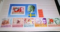 "FRANCOBOLLI NIGER 1977 ""PREMI NOBEL"" TIMBRATI USED SET + BLOCK (CAT.8)"