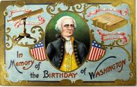 In Memory of the Birthday of Washington Vintage Embossed Postcard 1910