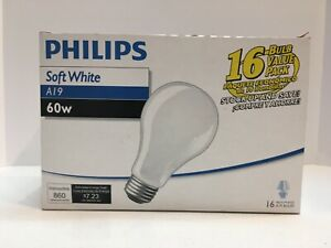PHILIPS 16 Pack 60W Light Bulbs Soft White