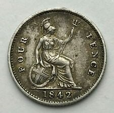 Dated : 1842 - Silver Coin - Fourpence - 4d Coin - Queen Victoria