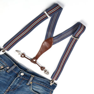 Brand new Mens Adjustable Clip-on Unisex suspenders stripe womens braces BD609