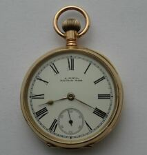 GOOD QUALITY ANTIQUE 10CT SOLID GOLD AMERICAN WALTHAM RIVERSIDE POCKET WATCH