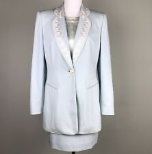 ESCADA Blue Wool Skirt Suit 3 Piece Set Size 38 8  36 6 Silk Top 34 4 Embroidery