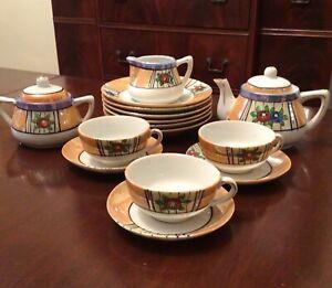 Vintage Lusterware China Child's Hand Painted Porcelain 17 pc Tea Set, Japan