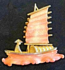 VINTAGE HATTIE CARNEGIE GOLD TONE CARVED FAUX CORAL CHINESE JUNK BOAT BROOCH PIN