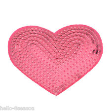 25PCs Fuchsia Heart Sequins Patches For Clothes Garments Sewing Craft