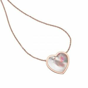 """18"""" Mother of Pearl Heart Necklace Real 14K Pink Rose Gold 3.2gr"""