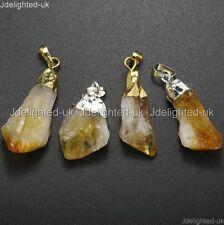 Natural Citrine Gemstones Healing Reiki Chakra Beads Nugget Pendant Charm Beads