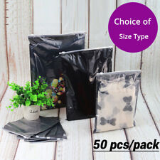 50 Clear Black Plastic Packaging Zipper Bags Reclosable For Clothes Underwear B
