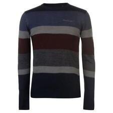 Pierre Cardin Large Stripe Knitted Jumper Navy Medium Td083 OO 12
