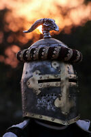 16ga Medieval Battle Top Knight Great Helmet Warrior Dragon Spike Templar helmet