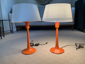 Pair of Orange Table Lamps by Gerald Thurston for Lightolier