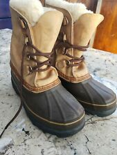Women's Sorel Caribou Tan Brown Leather Waterproof Winter Snow Duck Boots Size 8