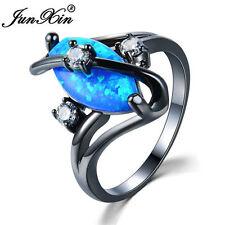 Marquise Cut Blue Fire Opal S Shape Wedding Ring Black Gold Women Gift Size 5-11