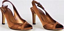 MOOTSIES TOOTSIES size 6.5M copper slngbck peep-toe pmps satin-like fabric upprs