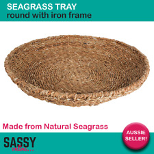 Seagrass Basket 55cm Fruit Bowl Tray Round Natural Sea Grass Rattan Woven Basket