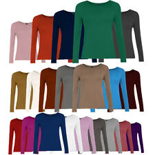 Women Ladies New Plain Long Sleeve Top T-Shirt Girl Stretch Scoop Neck Size 8-18