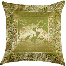 "Elephant 17"" Green Decorative Pillow Cushion Cover Silk Brocade Throw Indian"