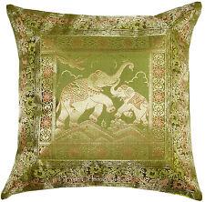 "Elephant 17"" Green Decorative Pillow Cushion Cover Silk Brocade Throw Indian"