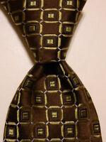 IKE BEHAR Men's 100% Silk XL Necktie USA Designer Geometric Brown/Green/Blue EUC