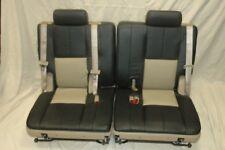 2007-2014 TAHOE YUKON 3RD ROW SPLIT SEATS 2 TONE EBONY TAN LEATHER F5101